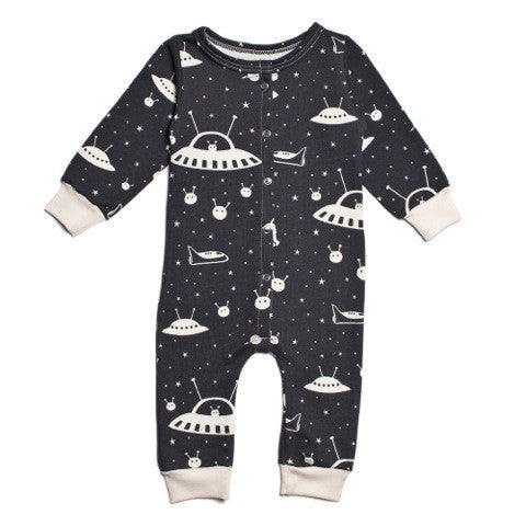 Outer Space  - Organic Terry Jumpsuit , Baby Wear - Winter Water Factory, Wild Dill
