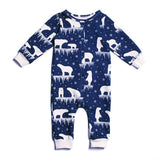 Winter Water Factory Midnight Polar Bear Jumpsuit - Organic French Terry , Baby Wear - Winter Water Factory, Wild Dill  - 1