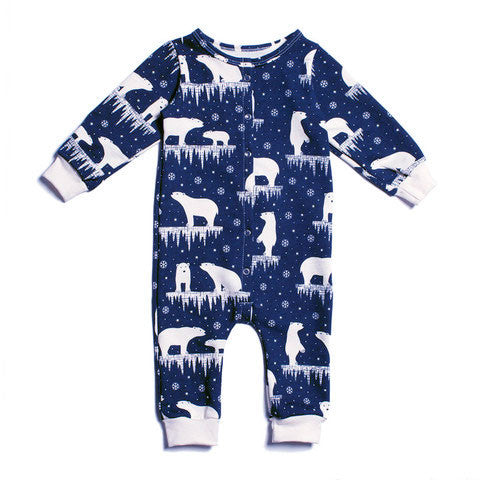 Winter Water Factory Midnight Polar Bear Jumpsuit - Organic French Terry , Baby Wear - Winter Water Factory, Wild Dill