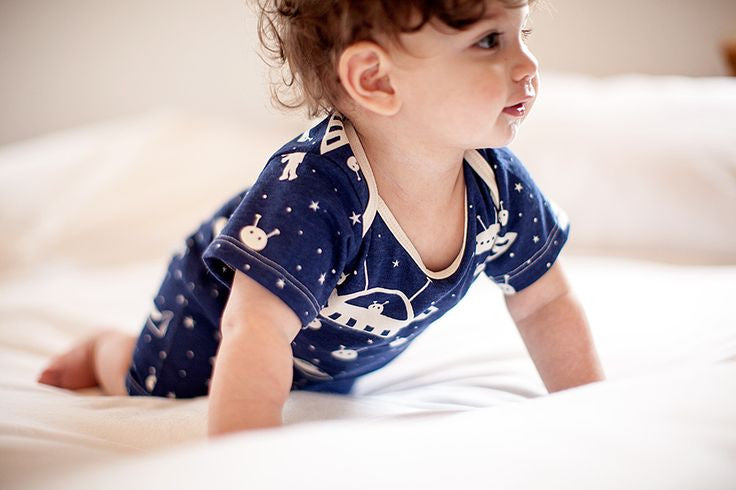 Outerspace Summer Organic Romper , Baby Wear - Winter Water Factory, Wild Dill  - 3