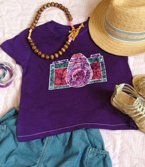 Hand-dyed Short Sleeve Purple Camera Batik Tee,Batik  - Wild Dill