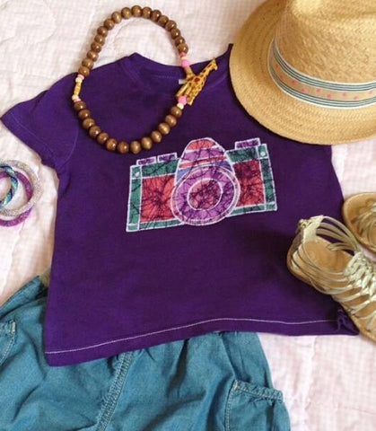 Handmade Short Sleeve Purple Camera Batik Tee