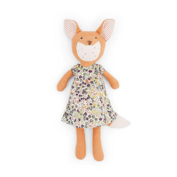 Flora Fox Doll -  in Liberty London Brambelberry Print Dress,Hazel Village  - Wild Dill