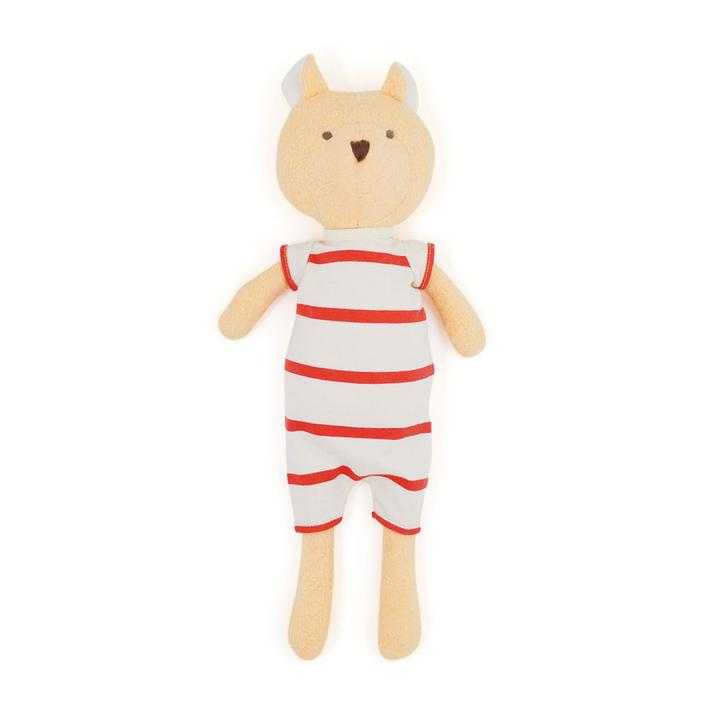 Nicolas Teddy Bear Organic Doll -  Red Stripe Outfit