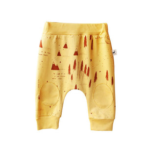 Winter Story Mustard Cotton Baby Pants,Red Caribou  - Wild Dill