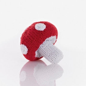 Mushroom Fair Trade Knitted Baby Rattle , Play - Pebble, Wild Dill