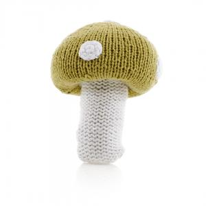Mushroom Fair Trade Knitted Baby Rattle,Pebble  - Wild Dill