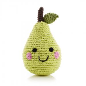 Smiling Pear Knitted Baby Rattle - Fair Trade,Pebble  - Wild Dill
