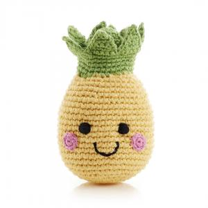 Smiling Pineapple  Knitted Baby Rattle - Fair Trade,Pebble  - Wild Dill