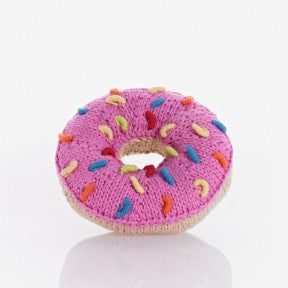 Donut Knitted Baby Rattles - Fair Trade,Pebble  - Wild Dill