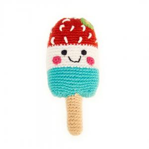Red White & Blue Popsicle Knitted Baby Rattle -  Fair Trade