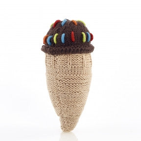 Chocolate Ice Cream Cone Knitted Baby Rattle - Fair Trade,Pebble  - Wild Dill