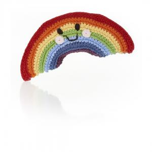 Happy Rainbow Knitted Baby Rattle - Fair Trade,Pebble  - Wild Dill