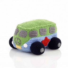 Blue Hippie Camper Van Fair Trade Knitted Baby Rattle , Play - Pebble, Wild Dill
