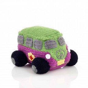 Pink Hippie Camper Van Fair Trade Knitted Baby Rattle , Play - Pebble, Wild Dill  - 1