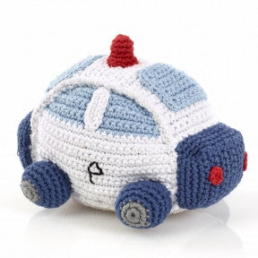 Police Car Fair Trade Knitted Baby Rattle,Pebble  - Wild Dill