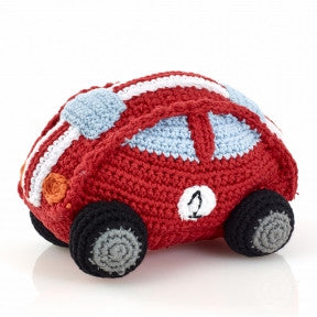 Red Race Car Fair Trade Knitted Baby Rattle,Pebble  - Wild Dill
