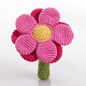 Pink Flower Fair Trade Knitted Baby Rattle,Pebble  - Wild Dill