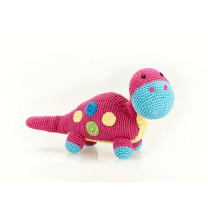 Pink Dino -  Fair Trade Knitted Baby Rattle,Pebble  - Wild Dill