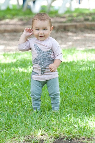 Organic Cotton Baby Leggings - Grey , Toddler Wear - Nui Organics, Wild Dill  - 2