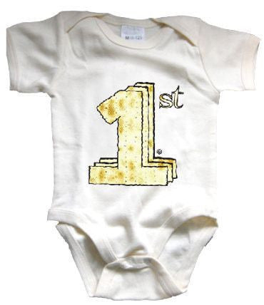 Baby's First Passover Organic Onesie - Size 6-12m,Hebrew Baby Collection  - Wild Dill