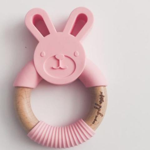 Bunny Ring Teether - Cotton Candy Pink,Pretty Please Boutique  - Wild Dill