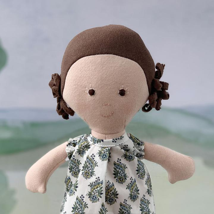 Louise Organic Girl Doll by Hazel Village - Liberty of London Dress,Hazel Village  - Wild Dill
