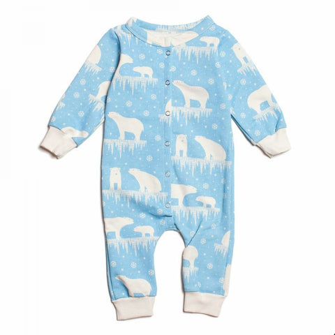 Winter Water Factory Arctic Blue Polar Bear Jumpsuit - Organic French Terry , Baby Wear - Winter Water Factory, Wild Dill