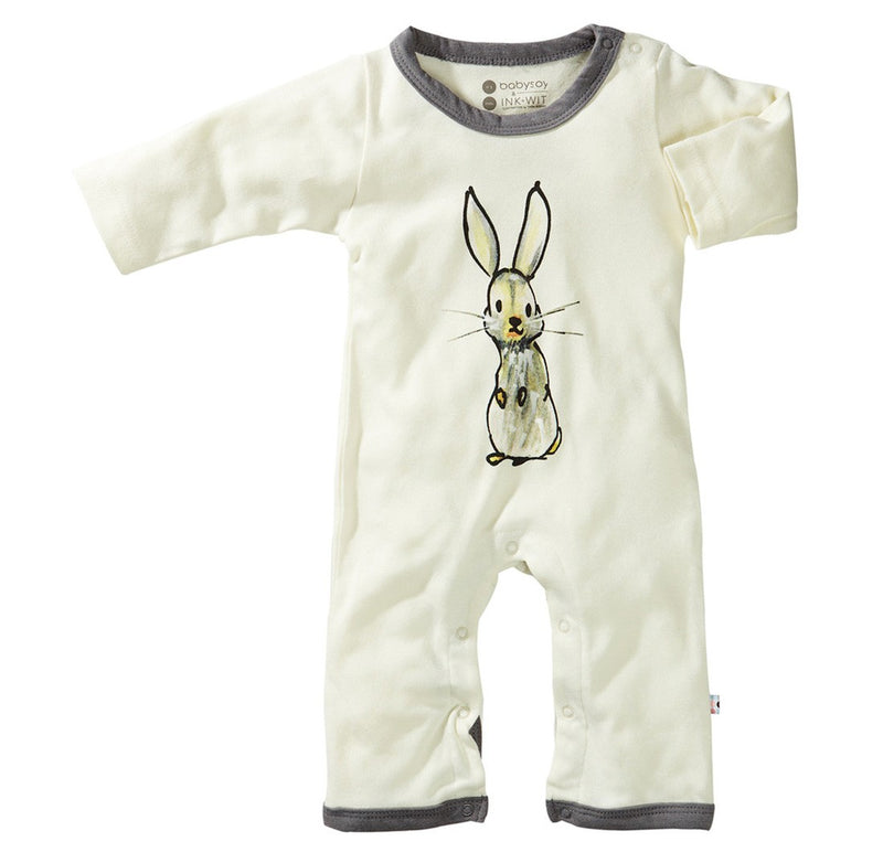 Grey Bunny - Organic Baby Winter Jumpsuit,Babysoy  - Wild Dill