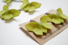 Green - Origami Butterfly Hair Clip Set , Accessories - moran alhalel, Wild Dill  - 3