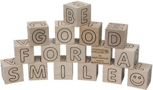 Natural Wood ABC Blocks with Storage Tray,Maple Landmark  - Wild Dill