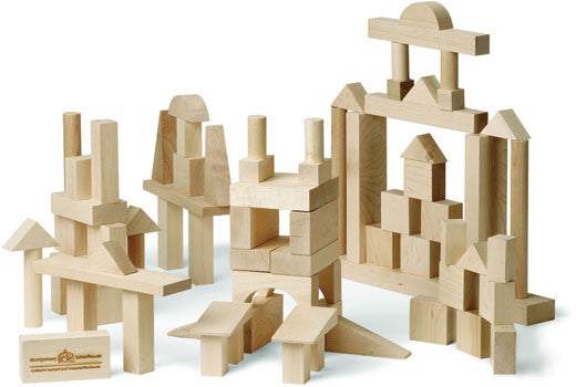 Advanced Builder: 78 Piece Wood Block Set,Maple Landmark  - Wild Dill