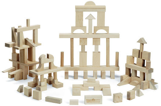 Master Builder: 104 Piece Wood Block Set,Maple Landmark  - Wild Dill