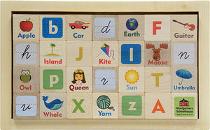 Vintage Style Letter & Picture Blocks with Storage Tray,Maple Landmark  - Wild Dill