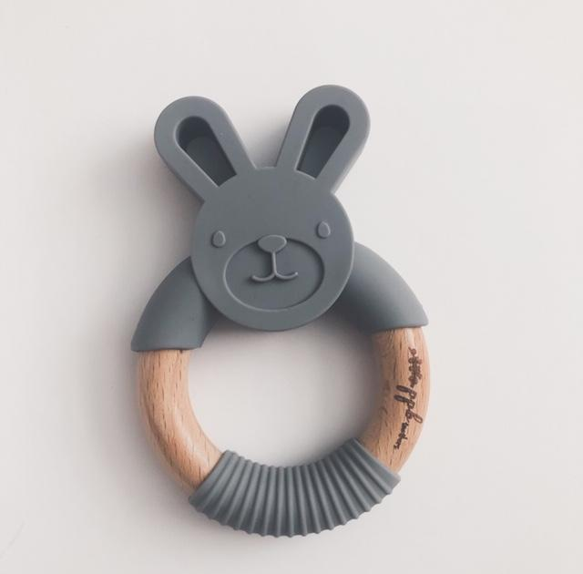 Bunny Ring Teether - Charcoal Black,Pretty Please Boutique  - Wild Dill