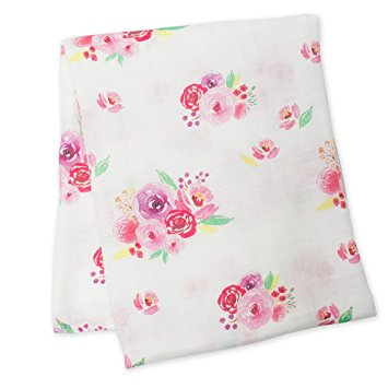 Posies Floral Cotton Swaddle Blanket,Lulujo Baby  - Wild Dill