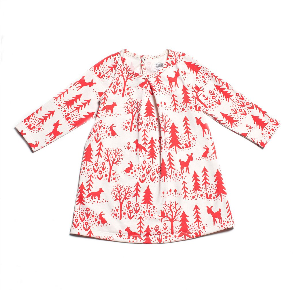 Aspen Red Winter Scene Dress by Winter Water Factory,Winter Water Factory  - Wild Dill