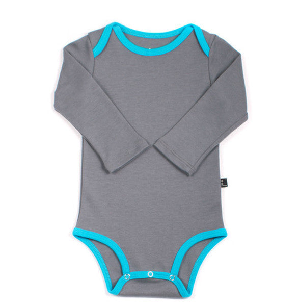 Organic Grey & Turquoise Long Sleeve Onepiece , Baby Wear - AXL, Wild Dill