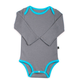 Organic Grey & Turquoise Long Sleeve Onepiece,AXL  - Wild Dill