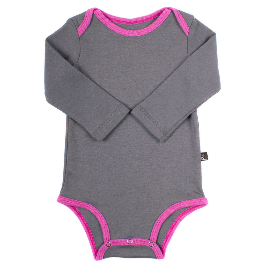 Organic Grey & Orchid Pink Long Sleeve Onepiece , Baby Wear - AXL, Wild Dill