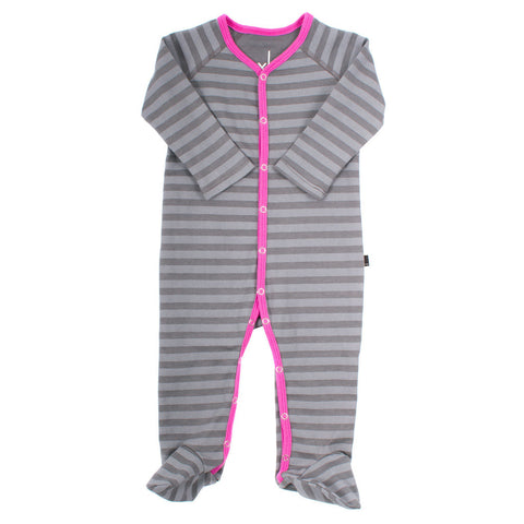 Organic Striped Orchid Footed Romper , Baby Wear - AXL, Wild Dill  - 2