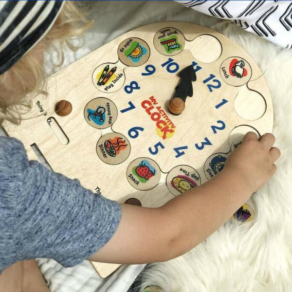 Toddler Wooden Activity Clock,Maple Landmark  - Wild Dill