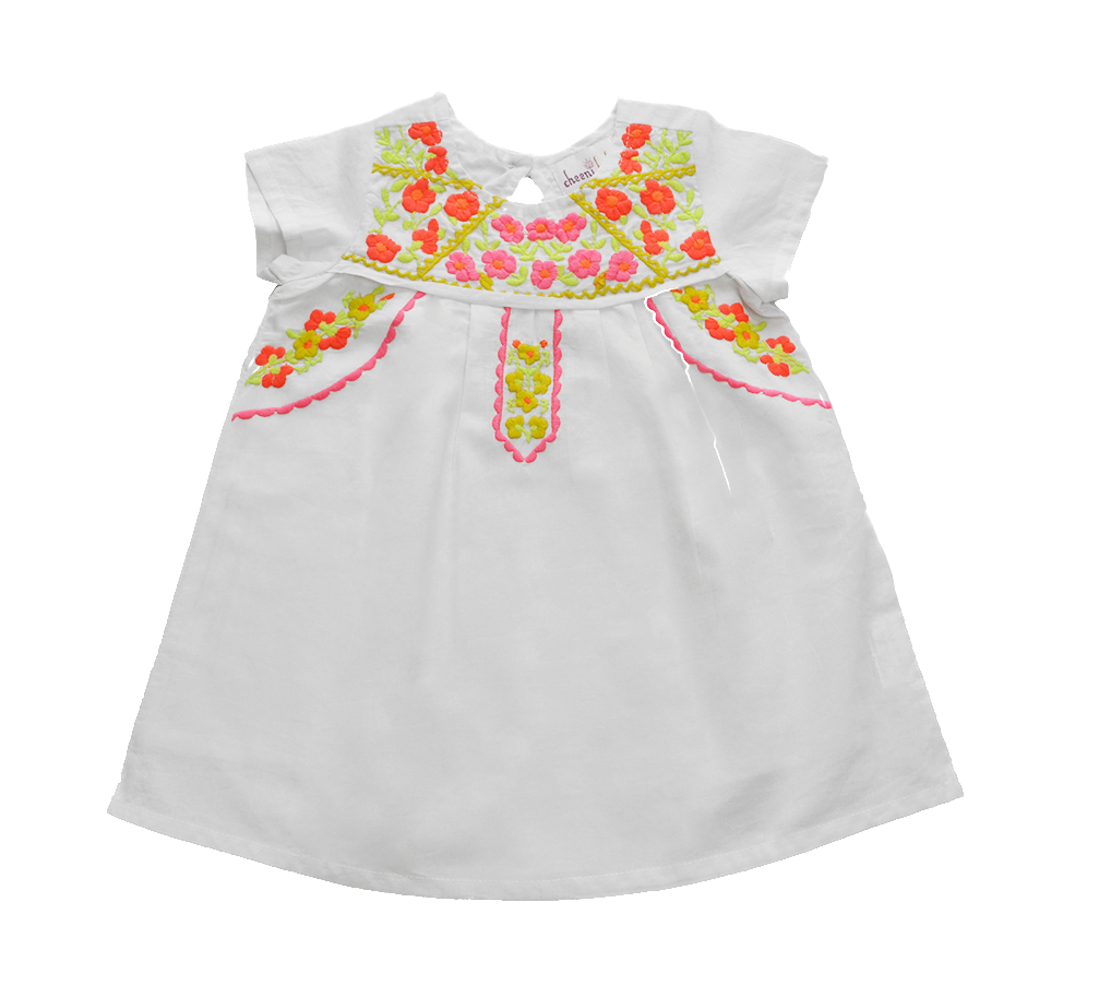 Lucia White Embroidery Fair Trade Dress,Cheeni Girls  - Wild Dill