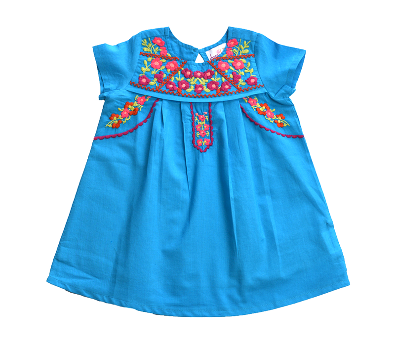 Turquoise Embroidery Fair Trade Dress
