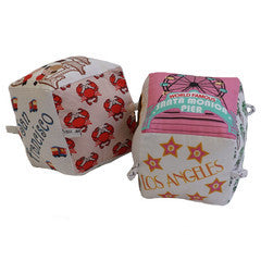 California Love (Set of 2) - Organic Cotton Play Block,Globe Totters  - Wild Dill