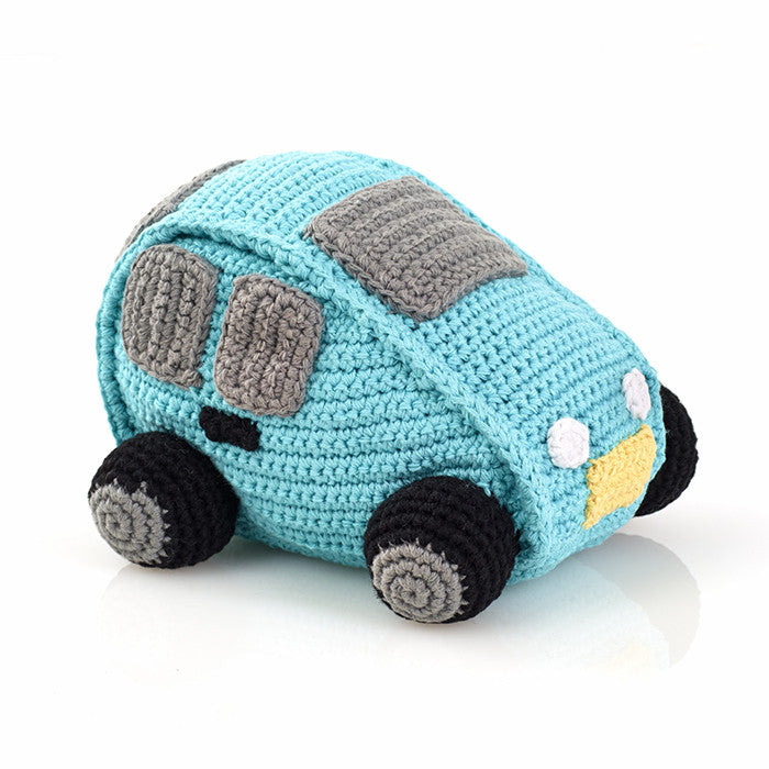 Turquoise Car Fair Trade Knitted Baby Rattle , Play - Pebble, Wild Dill  - 1