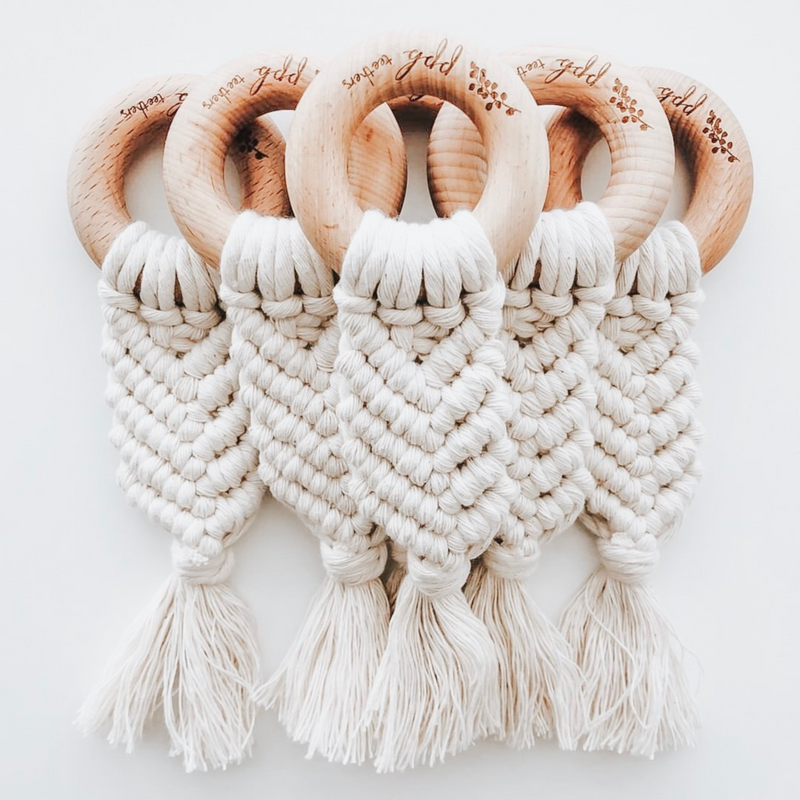 Macrame with Wood Teething Ring,Pretty Please Boutique  - Wild Dill