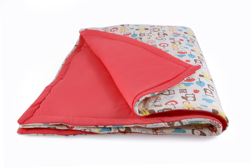 Coral Pink - Organic Padded Blanket w/ storage bag,Mezoome Designs  - Wild Dill