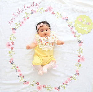Isn't She Lovely Floral - Baby's First Year Milestone Swaddle & Cards,Lulujo Baby  - Wild Dill