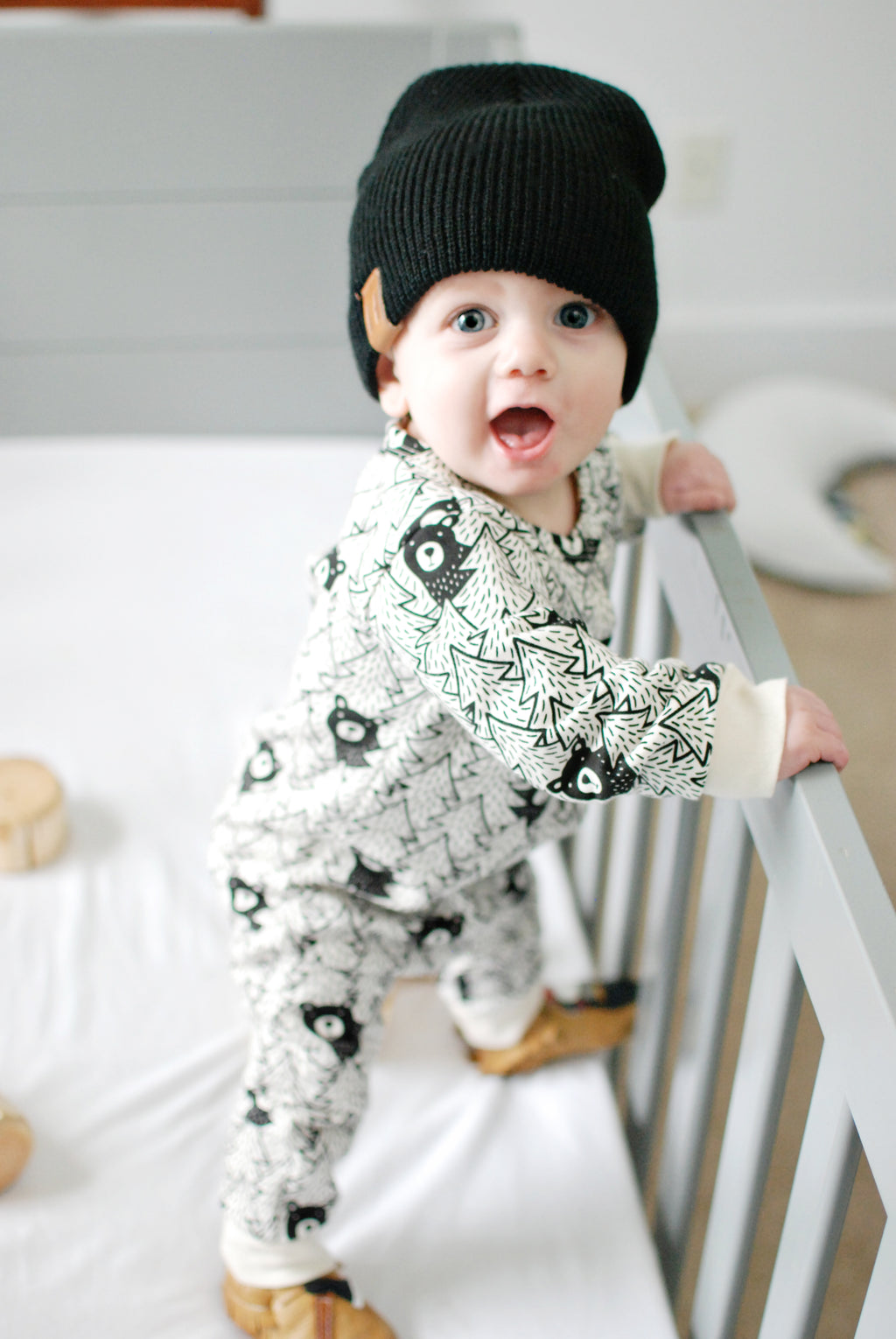 Black Bears - Organic French Terry Jumpsuit by Winter Water Factory,Winter Water Factory  - Wild Dill
